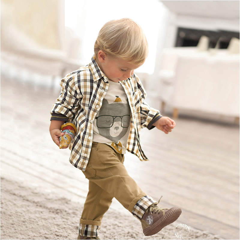 kids clothes children pants and shirt  suit baby boy streetwear plaid 3 pieces set boys longsleeve casual clothing set