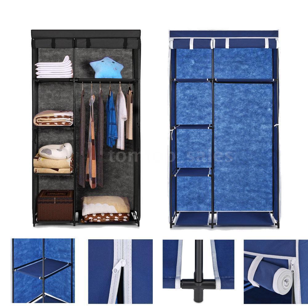 IKAYAA Hanger-Rack Cabinet Wardrobe Cloth Roll-Up-Clothes Organizer Ropero 5-Storage