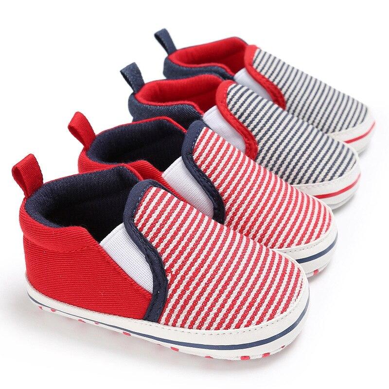 Crib Shoes Striped Casual Newborn Baby Boys Girls Unisex Soft Sole Crib Shoes Anti-slip Sneakers 0-18M