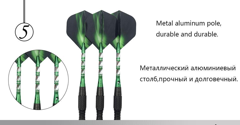 Easytoday 3Pcsset Standard Steel Tip Darts Hard Type Tungsten Darts Set Aluminum Green Shafts Darts Flights Games (5)