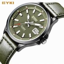 EYKI Известная Марка Мужчины Часы 2016 Спортивные Часы Для Мужчин Ремень Из Натуральной Кожи Календарь Авто Дата Кварцевые часы Наручные Часы часы