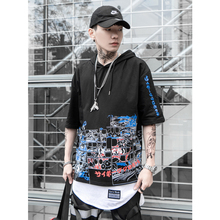 UNCLEDONJM Japanese Cartoon Mens Short Sleeves Hooded Sweatshirts Harajuku Hip hop Casual Hoodies Streetwear 2019 Summer 287S