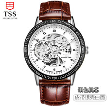 2016 TSS fashion Royal Design Black Gold Men Mechanical Watch Montre Homme Mens Watches Top Brand Luxury Leather Skeleton