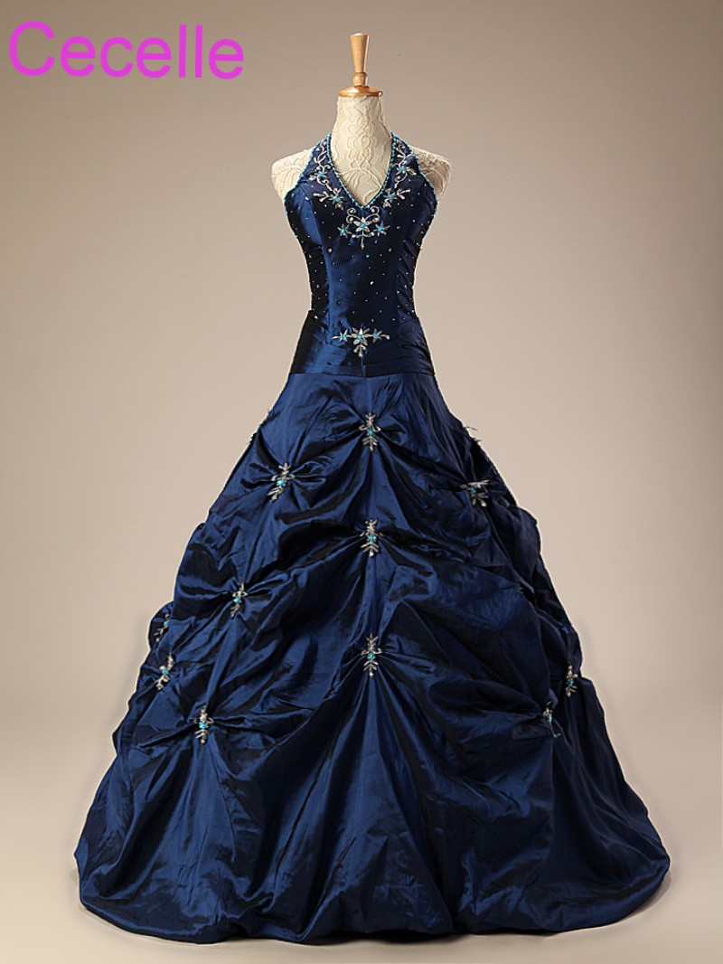 Bleu Royal a-ligne robes de mariée licou broderie Vintage taffetas femmes robes de mariée colorées avec couleur Non blanc sur mesure