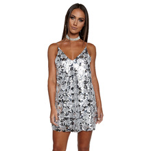 Sexy Spaghetti Strap Sequin Dress 2017 New Summer Club Wear Deep V Backless Mini Evening Party Women champagne Dresses Vestido