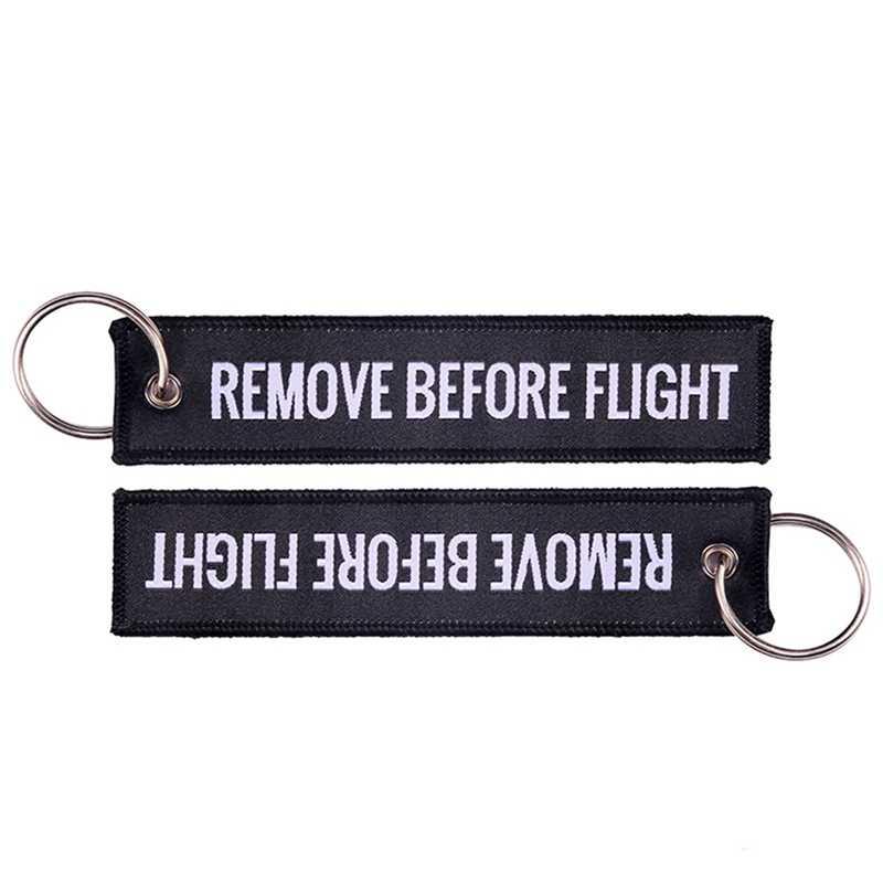 Doreen caixa remover antes do vôo moda tag chaveiro keyring retângulo poliéster bordado mensagem 2019