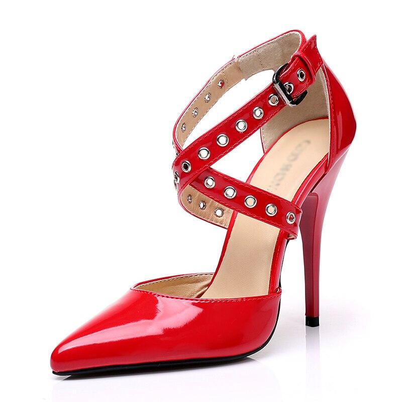 Verni Heel Chaussures Heel Courroie En Black white Femmes 12 12cm Cuir Fenty Dames Pointu Pompes Partie Talons Croix Stiletto red Sexy Cm Goth Bout Heel Beauté Haute De OxqgwxY