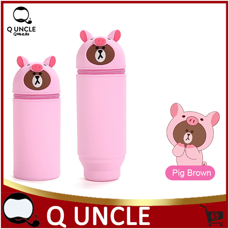 Silicone Cartoon Pen Holder Makeup Brush Bag Organizer Tool Pink Pig Design Cosmetic Brushes Container Brush Pen Storage Holder