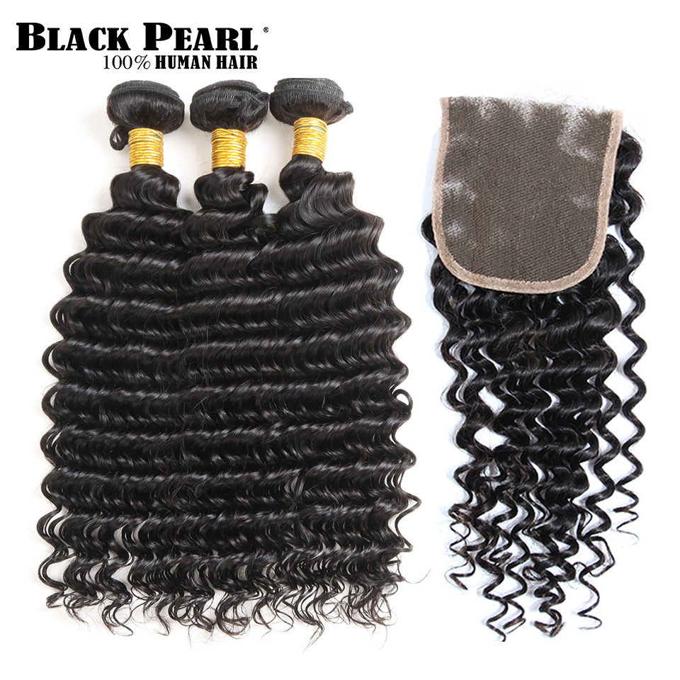 BlackPearl Pre-Colored Remy Peruvian Hair Bundles with Closure Human Hair Deep Wave Bund ...