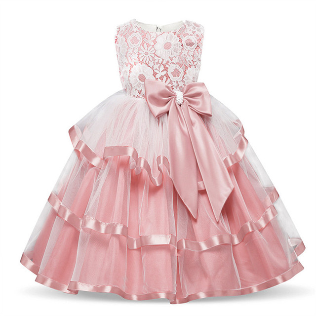2807db84774b1 US $8.98 10% OFF|Elegant Flower Girl Long Evening Dress Baby Girl  Christening Gown Children's Princess Costume For Teen Girl Wedding Party  Dress-in ...