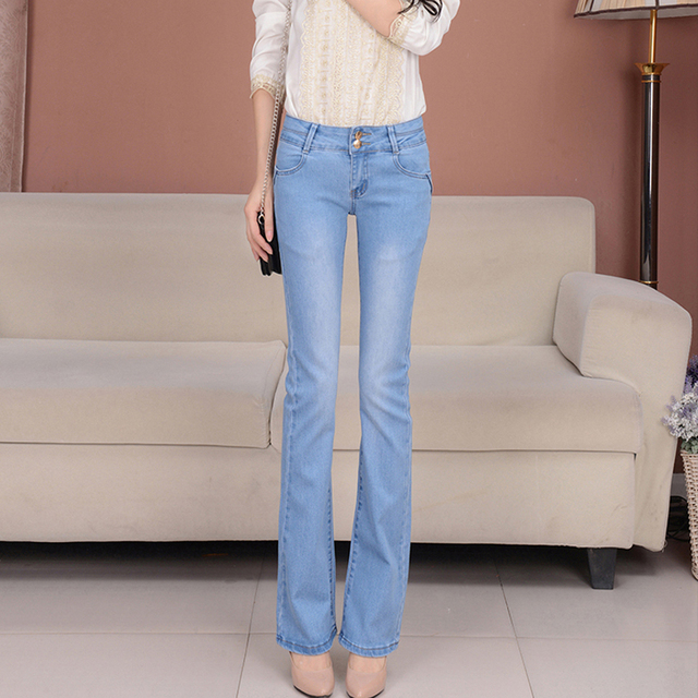 ab33dafd408c11 New arrival spring flares female jeans slim show body women's Bell bottom  jeans fashion elastic fit denim women trousers