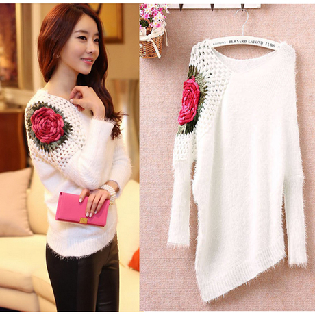 Online Shop Women Sweater Hollow Out Long Pullover Floral ...