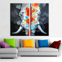 Two picture Combination Animal Paintings Abstract Elephant High Quality Canvas Oil Painting Wall Art Decor Hot Sell Product