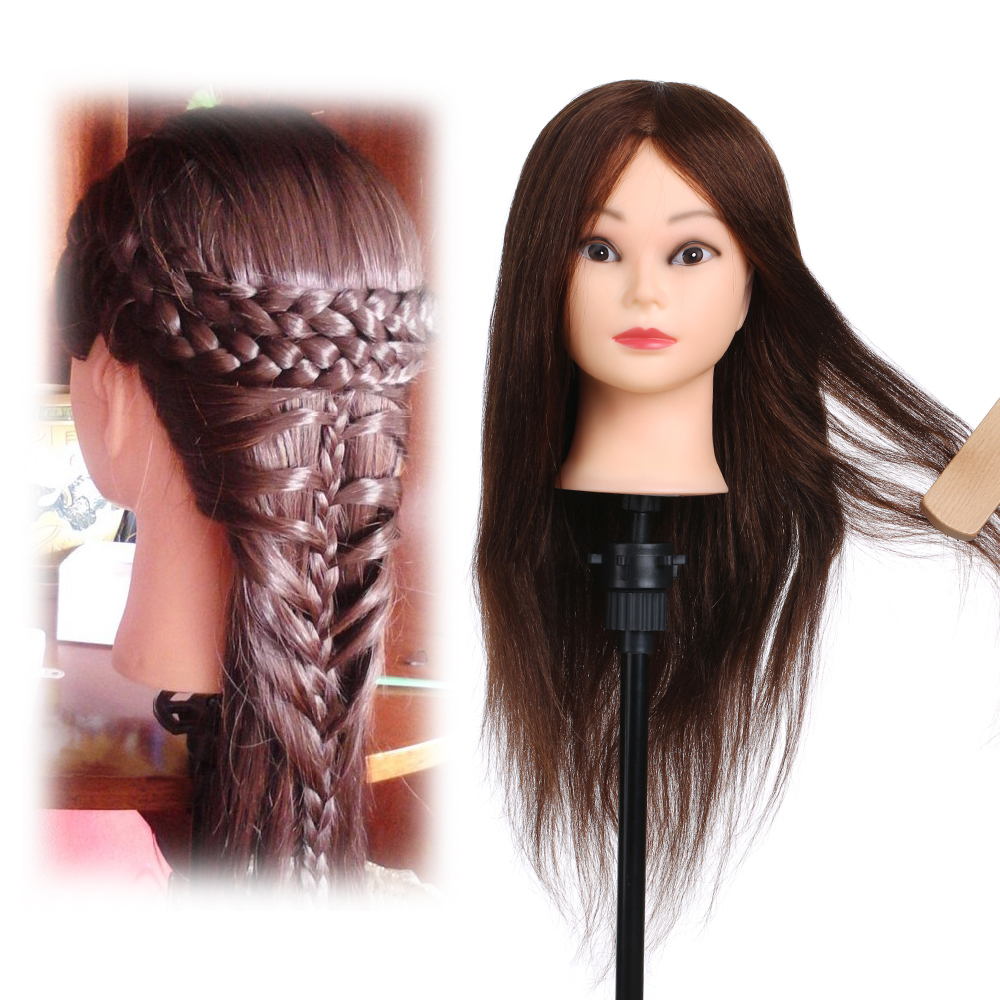 26in 100% Real Human Hair Practice Training Head Model with Clamp Holder Salon Soft Hairdressing Dummy Head Hair Mannequin Head