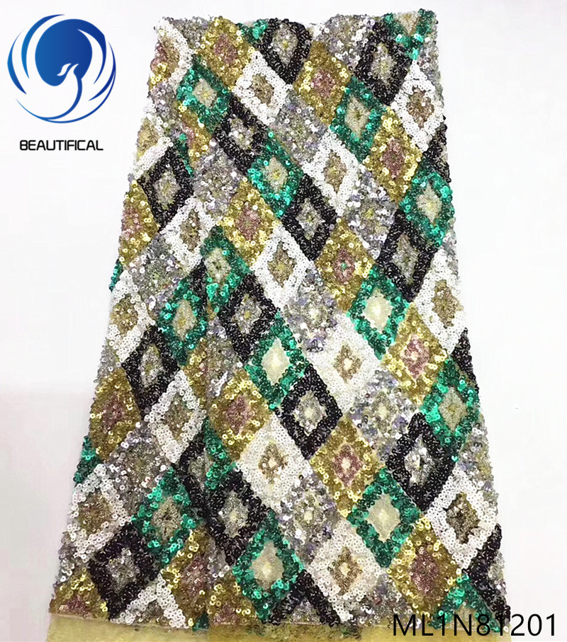 Beautifical nigerian lace fabrics multicolor sequins net lace fabric for dresses New arrival french lace women fabric ML1N812Beautifical nigerian lace fabrics multicolor sequins net lace fabric for dresses New arrival french lace women fabric ML1N812
