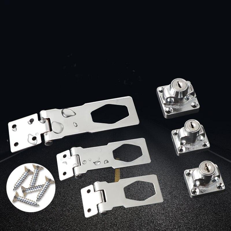 Stainless Steel Plating Self Locking Security Hasp Staple 2 Keys Lock Shed Cupboard Padlock Door/Shed/Gate/Van Lock warehouse door gate 60mm metal security lock padlock lengthening lock w 4 pcs keys