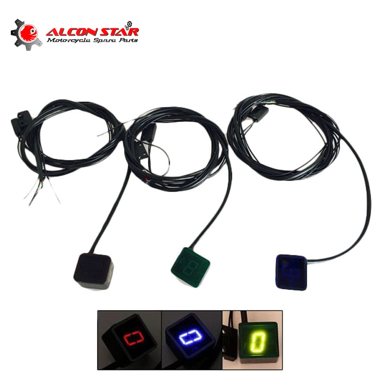 Alconstar- 3 Color Digital LED Gear Indicator Motorcycle Gear Display Light Neutral Shift Lever Sensor Motocicleta Accessories motorcycle gear lever notch set refires protective case shift lever sleeve modification accessories with big brand logo