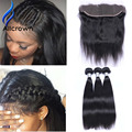 ALICROWN 10a Virgin Hair Weft With Closure 13x4 Lace Frontal Closure With Bundles Peruvian Straight Hair With Closure No Tangle