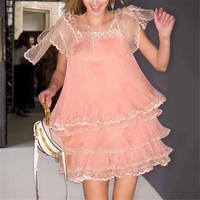 Pink Dresses for Women Sleeveless A line Mini Sweet Summer party Dresses Ruffle Lace Solid Sweet Lady Dress