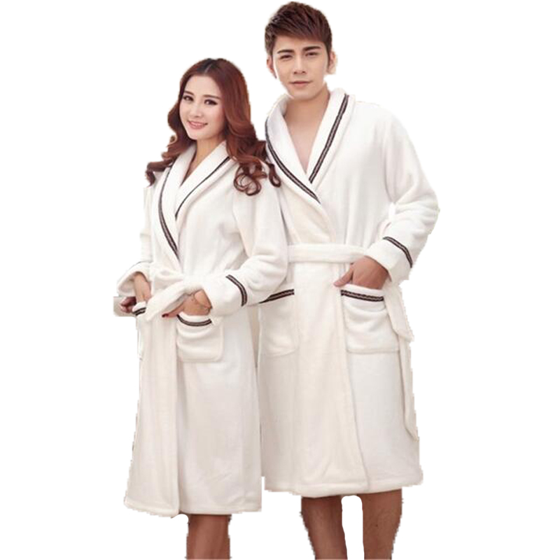 Winter Long Bathrobe Couple Flannel Nightdress Warm Bath Robe Kimono Bride Dressing Gown Sleepwear Robes For Women Men Home Wear