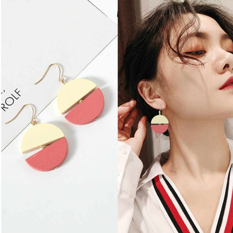 2018 new fashion temperament simple two-color mosaic retro wood earrings jewelry wholesale