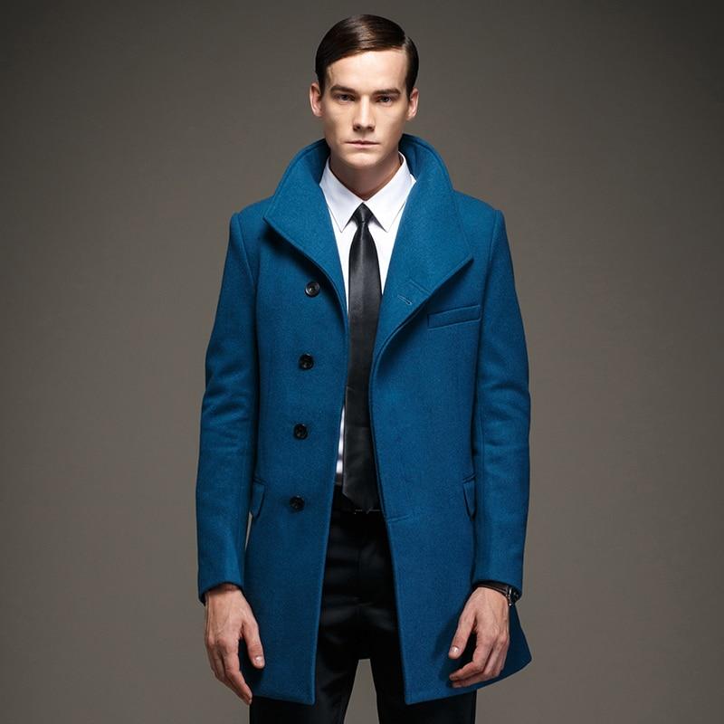 Men Button Navy Blue Wool Coat Jacket, Men's Wool Blend Buttoned ...