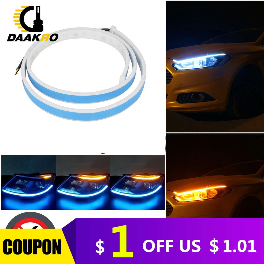 60CM Universal DC 12V Turn Signal Dual Color LED Strip Light White Yellow High Flexibility 6000K 4500K Flowing Lamp Light-in Signal Lamp from Automobiles & Motorcycles