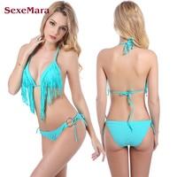 SexeMara Brésilien Bikini Gland Maillots De Bain Push Up Marque Femmes Bikini Set Dames Sexe Fringe Maillot de Bain Femmes Maillot De Bain Femme