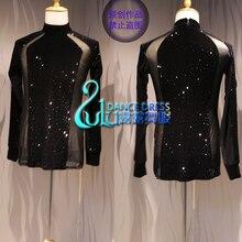 Siyah kadife kumaş Latin Dans Elbise Giyim Salsa Kostüm Balo Salonu Yarışması erkek gömleği Siyah erkek Gömlek Siyah kristal gömlek