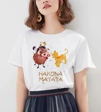 Hakuna matata koszula kobiety Harajuku Ullzang Vintage Kawaii koszulka Femme Homme letni T-shirt modny top Tee kobieta T Shirt tanie tanio DAYUHU Modalne NONE Suknem Streetwear Drukuj Krótki REGULAR O-neck