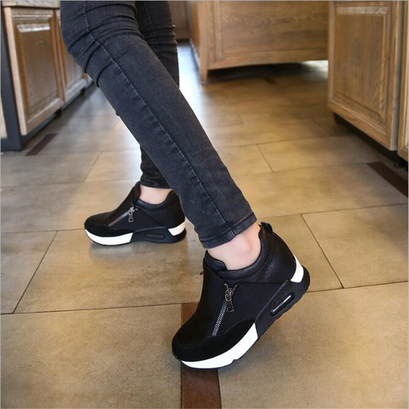 ELGEER New Women Casual Shoes Height Increasing Zipper Breathable Women Walking Flats Trainers Shoes Autumn Platform Sneakers