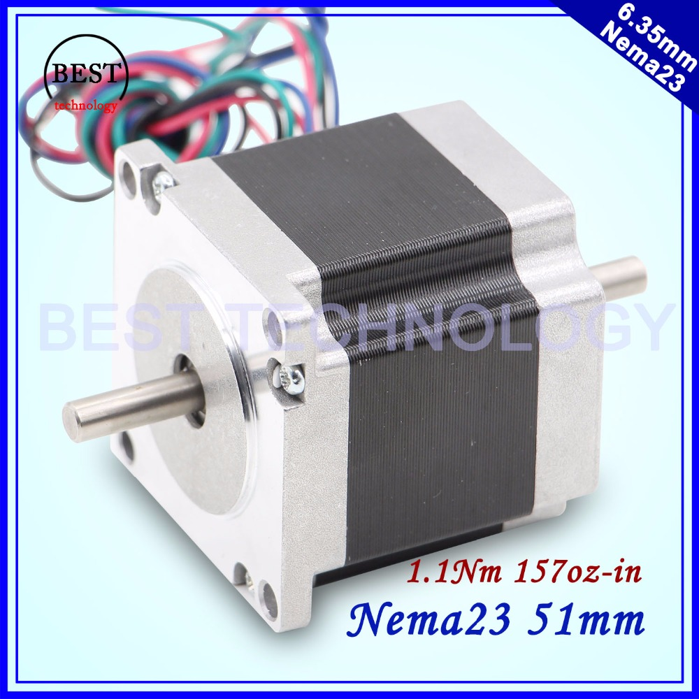 цена на NEMA23 stepper motor dual shaft 57X51mm 2.0A 1.1N.m stepping motor 157Oz-in double shaft Nema 23 CNC for 3D printer