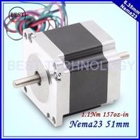 NEMA23 stepper motor dual shaft 57X51mm 2.0A 1.1N.m 157Oz-in doble eje motor paso a paso Nema 23 CNC para impresora 3D