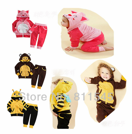 Cute Animal Ear Hoodie Zipper Jacket + Children Pants Baby Clothing Set for Girl Boy Outfits Kid Clothes Toddler Bebe Clothing