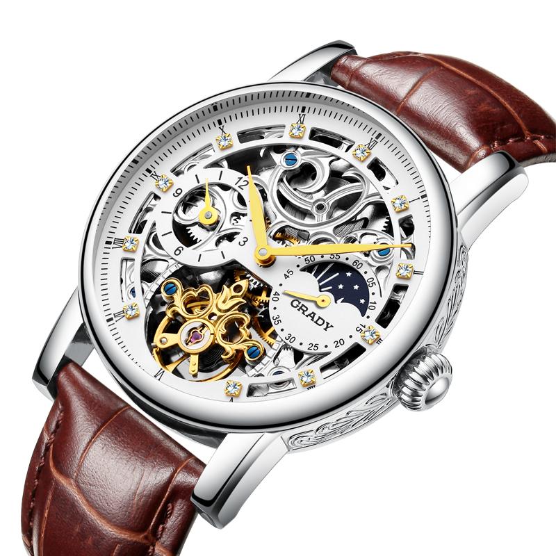 Prix pour Tourbillon D'affaires hommes montres top marque de luxe antichoc étanche Ceinture montre hommes mécanique automatique montre-bracelet squelette