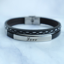 [FCY] love Europe and America punk jewelry fashion multi-layer leather rope couple bracelets braided bracelet