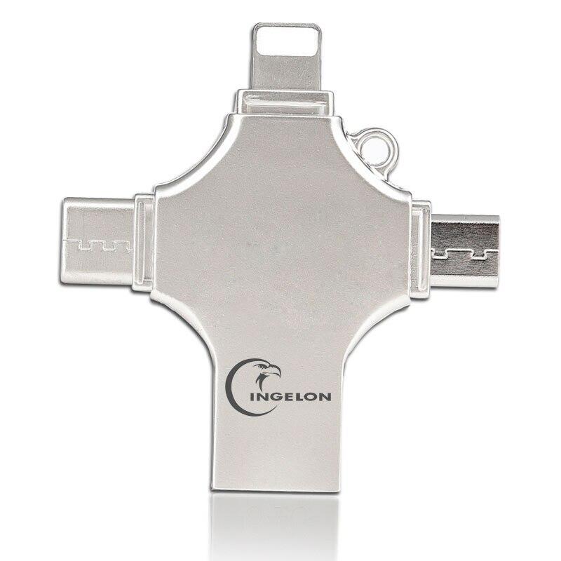 Livraison directe OTG clé USB pour iPhone X/8/7 Plus/6/6 s/5/SE ipad métal DJ clé USB HD clé USB 16G 32G 64G 128 GFlash Driver