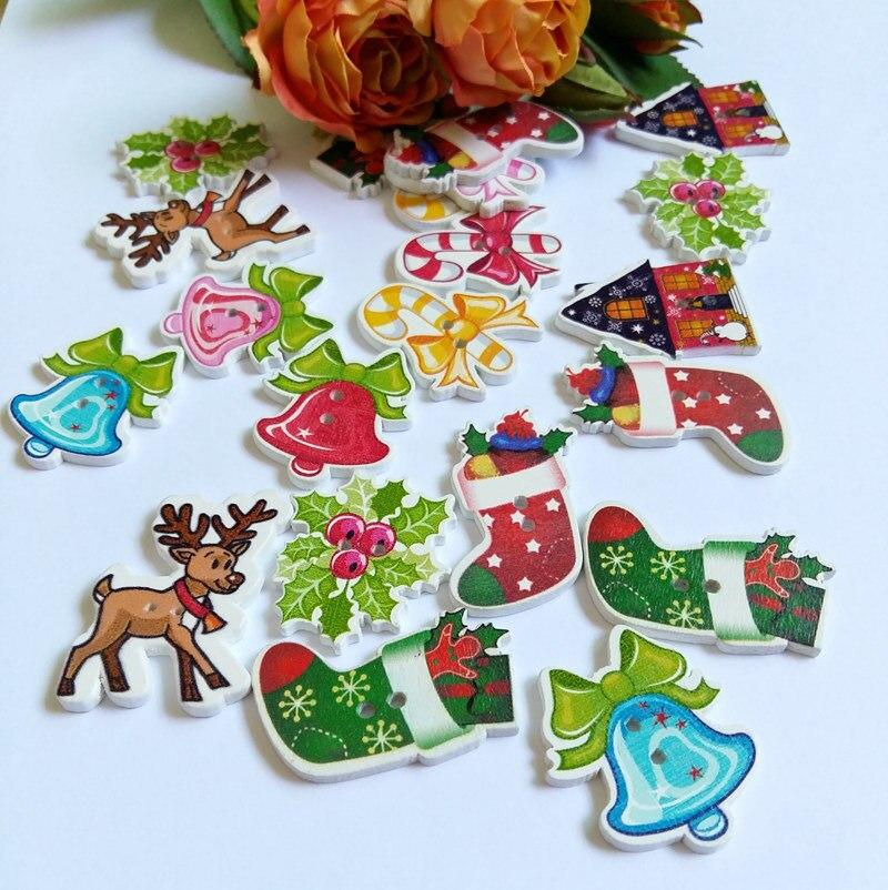 50x Cardmaking Christmas Bell Wooden Button 2-Holes Scrapbooking Craft DIY
