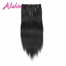 Alishow Double Weft Clip in Human Hair Extensions 100% Remy Human Hair 100gram/Set Full Head Long Soft Silky Straight 7pieces