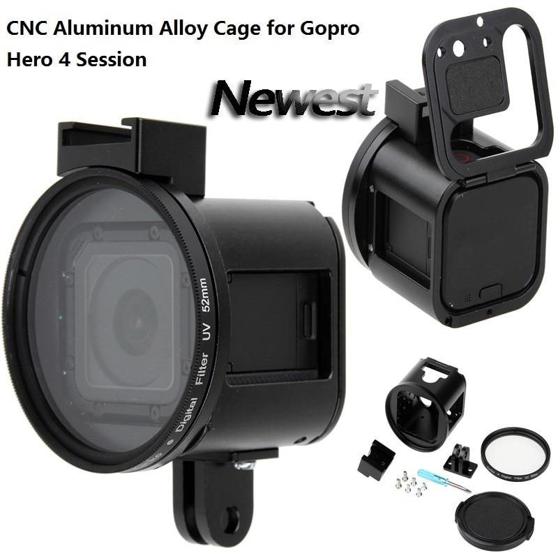 Gopro Hero 4S Accessory CNC Alloy Metal Case Housing Frame Shell UV Lens Cover for GoPro
