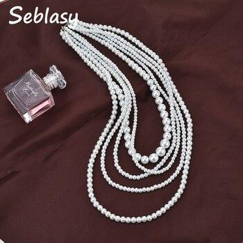 eedf5ea1491d Seblasy nueva moda Multi capa grande declaración imitación perla collares  colgantes para mujeres Venta caliente fiesta joyería regalos Mujer
