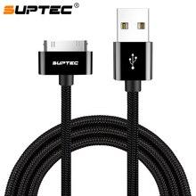 a1541486fb5 SUPTEC 2 M 3 M Cable USB para iPhone 4 4S Cable trenzado de nailon carga  rápida 30 Pin Cable cargador cable de datos para iPad 1.