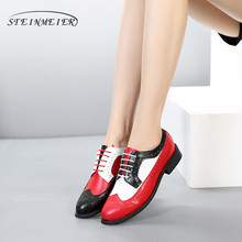749f4f4437252 100% Genuine cow leather brogue casual designer vintage lady flats shoes  handmade oxford shoes for women black red white fur