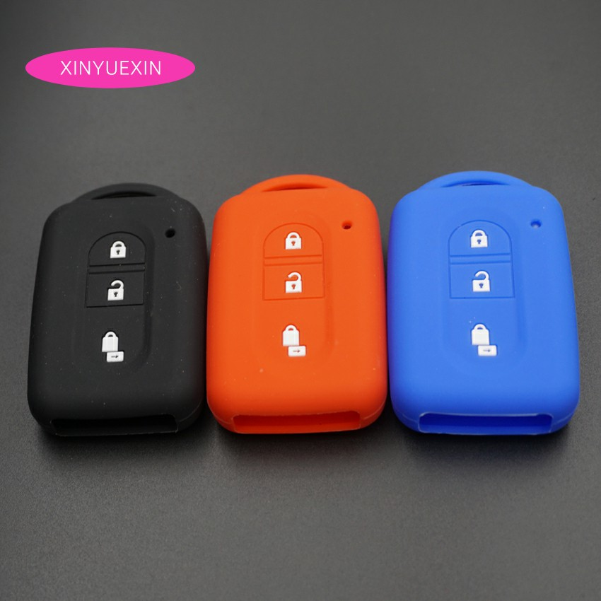 Xinyuexin Silicone Car Key Cover FOB Case For Nissan Duke MICRA QASHQAI JUKE X-Trail NAVARA Smart Remote Car Key 3 Buttons xinyuexin silicone car key cover fob case for toyota altezza wish carina one button on side remote key car styling