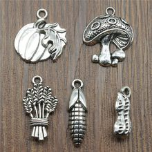 10pcs/lot Food Charms Antique Silver Color Mushroom Charm Pendants Jewelry Accessories Pumpkin Corn Charms For Jewelry Making(China)