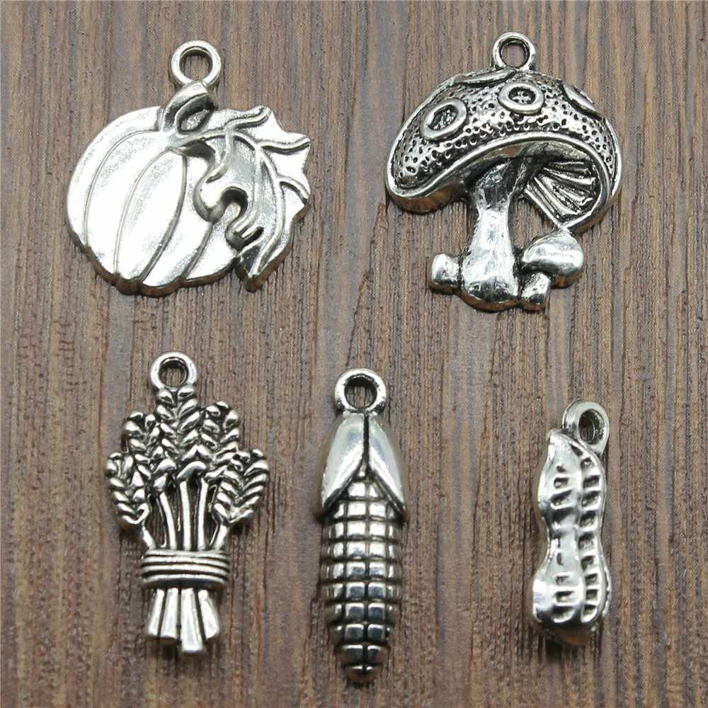 10pcs/lot Food Charms Antique Silver Color Mushroom Charm Pendants Jewelry Accessories Pumpkin Corn Charms For Jewelry Making