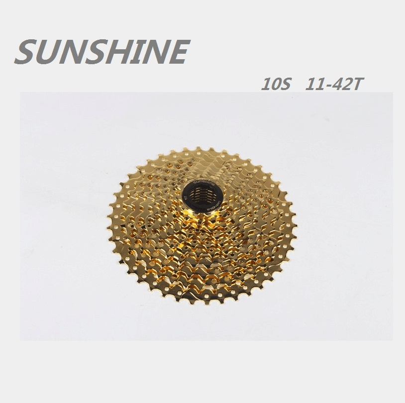 SUNSHINE <font><b>Cassette</b></font> Freewheel <font><b>11</b></font>-42T 10 Speed gold Bicycle Freewheel Mountain Bicycle Tool MTB Flywheel Bike Parts image