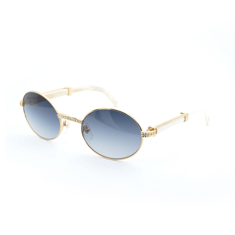 Luxury Rhinestone Buffalo Horn Sunglasses Men Shades Round Wood Sun Glasses Vintage Clear Glasses Eyewear for Party Club