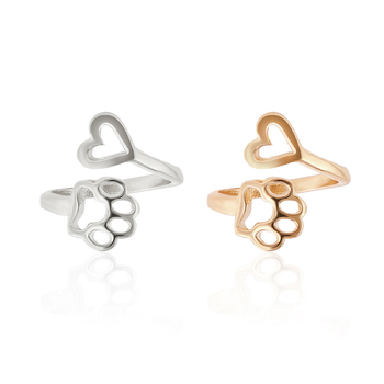 2017 New Fashion Women Girl Cute Simple Metal Love Heart Cat Dog Foot Open Adjustable Rings Animal Style Hollow Paw Ring Jewelry
