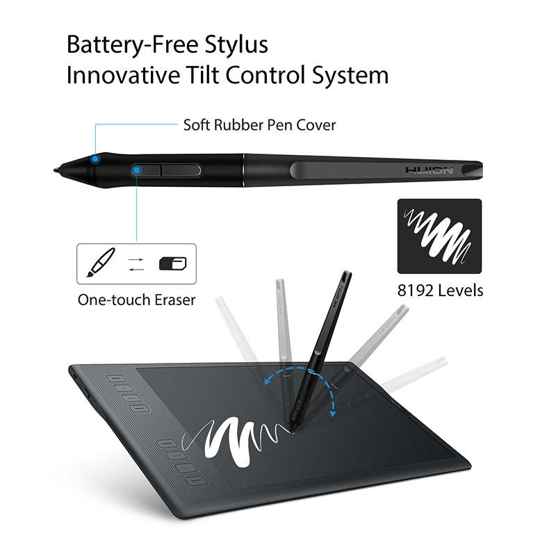 HUION INSPIROY Q11K V2 Wireless Digita Pen Tablet Battery-free Designed for  Drawing Graphic Painting Tablet with 8192 Levels